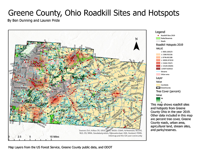 Greene County, Ohio Roadkill Sites and Hotspots map