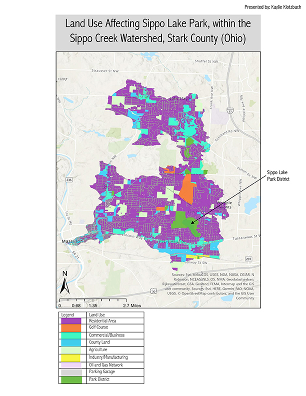 B4. Land Use Affecting Sippo Lake Park, within the Sippo Creek Watershed, Stark County (Ohio) map