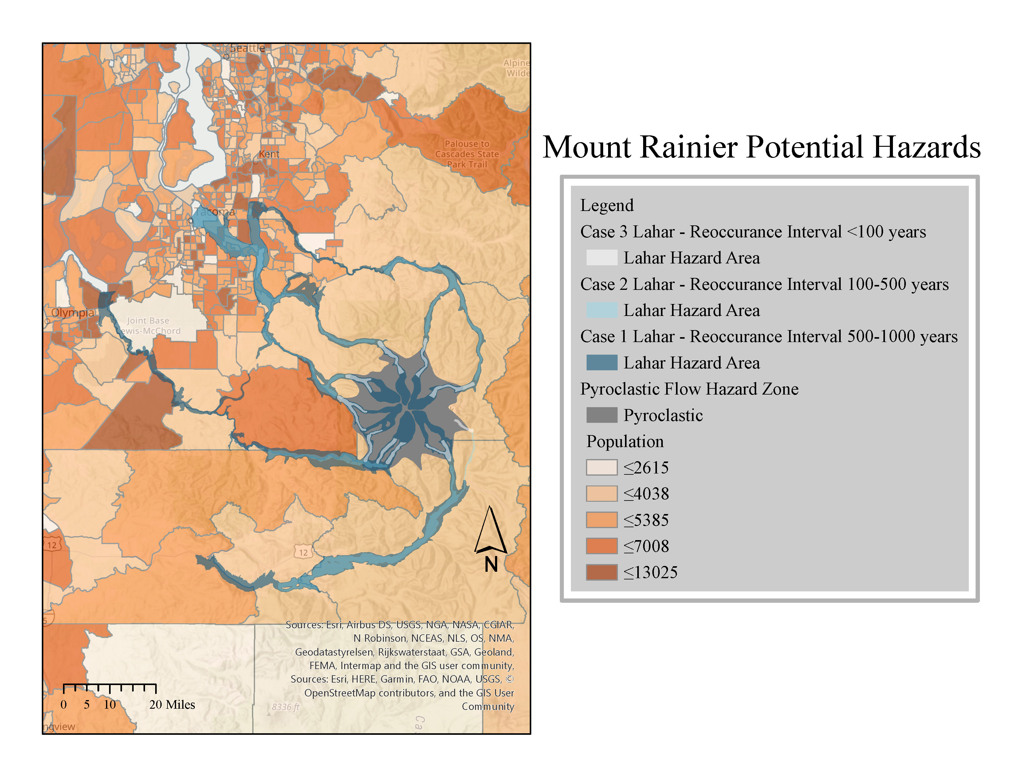 Mount Rainier Potential Hazards map