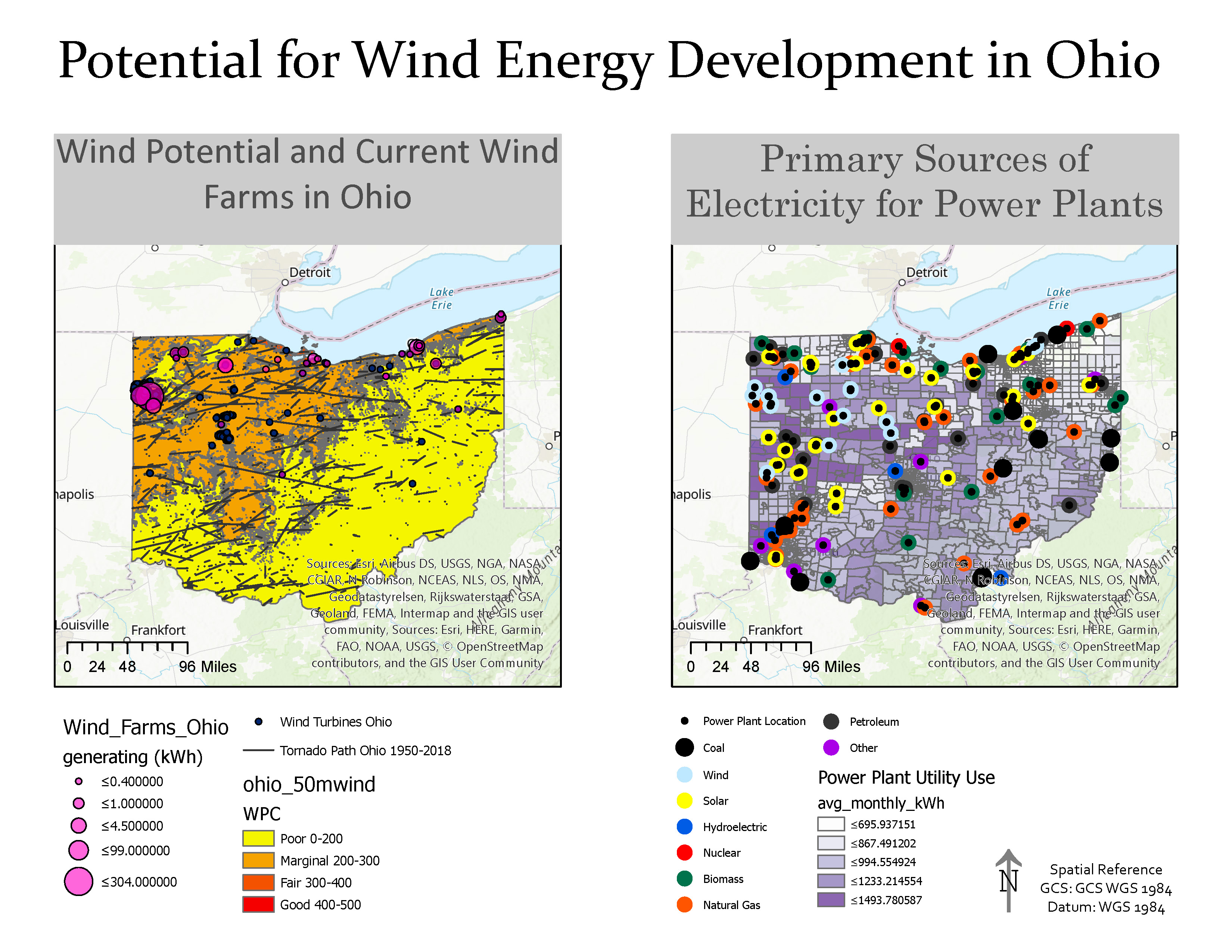 Potential for Wind Energy Development in Ohio map